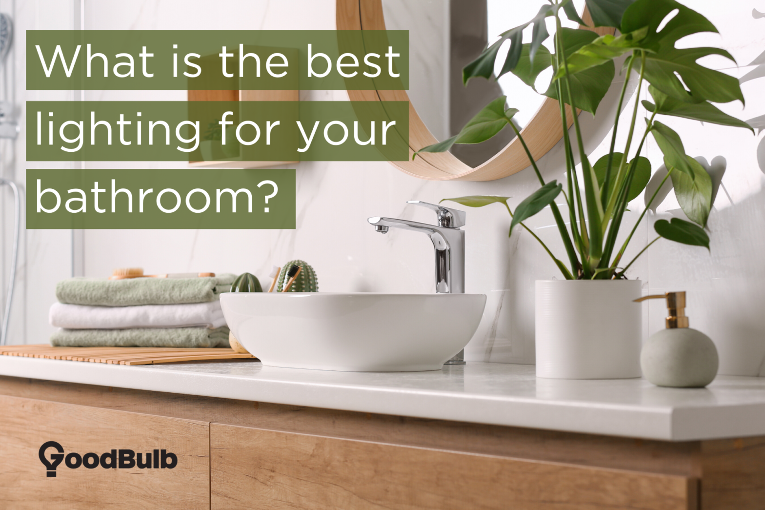 """A bathroom vanity with a green plant next to the sink, and a title reading """"What is the best lighting for your bathroom?"""""""