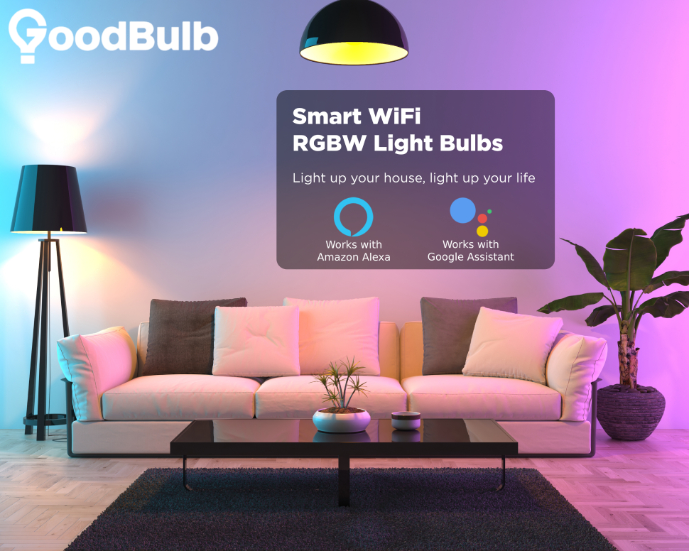 """GoodBulb logo over a living room scene with a couch, a plant, and purple and blue light. Overlay text reads """"Smart Wifi RGBW Light Bulbs"""""""