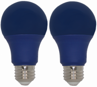 9 Watt Blue LED, 60 Watt Equivalent, A19 Shape, 2 Pack. Made by GoodBulb, the sku for this item is GBLEDA19BLU2.