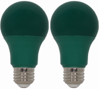 9 Watt Green LED, 60 Watt Equivalent, A19 Shape, 2 Pack. Made by GoodBulb, the sku for this item is GBLEDA19GR2.
