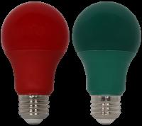 LED A19 - 9 Watt - 10,000 Hours - 60 Watt Equal - Holiday 2 Pack - Red & Green